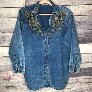 ▪️Pretty Bleu▪️Vintage Embellished Denim Button Up